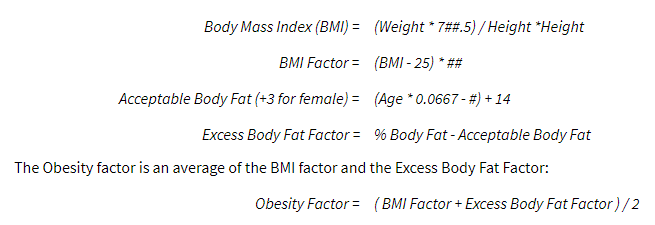Obesity Factor Calculations